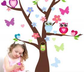 Cute Owl Tree Branch Wall Decor Decals Kids Baby Girl Room Nursery Flower Butterfly Removable Wall Murals