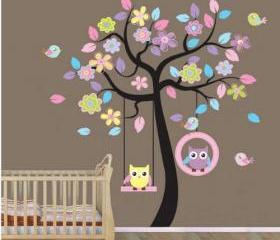 Colorful Owl Swing Tree Birds Flowers Nursery Wall Decor Decals Baby Boy Girl Room Wall Sticker Murals