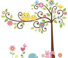 Baby Love Owl Tree Birds Flower Wall Decal Kids Room Nursery Removable Wall Mural