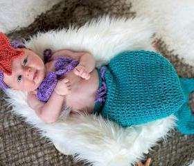 Newborn Mermaid Tail Cocoon Costume Baby Girl Flower Headband Crochet Knit Beanie Hat Photography Photo Props
