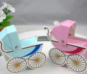 Favor Box Baby Boy Girl Shower Favors Whimsical Pram Carriage Bomboniere 24-Pack